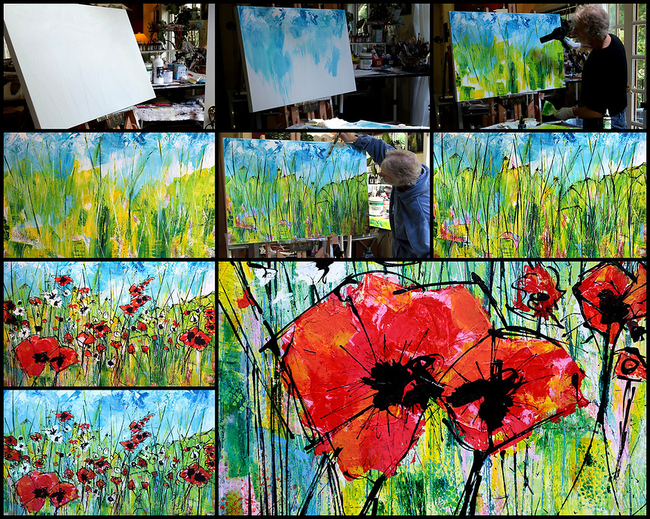 """The Creation of 'Poppies'. 24"""" x 36"""" . Acrylic on Canvas . 2017 . SOLD"""