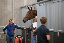 Wettstein Nicolas, ECU, Nedeville Merze<br /> Departure of the horses to the Rio Olympics from Liege Airport - Liege 2016<br /> © Hippo Foto - Dirk Caremans<br /> 30/07/16