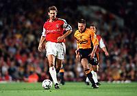 Tony Adams (Arsenal) Nick Barmby (Liverpool). Arsenal 2:0 Liverpool, F.A.Carling Premiership, 21/8/2000. Credit : Colorsport / Stuart MacFarlane.