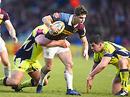 Harlequins player Tim Swiel tries to break a tackle in the first half during the Aviva Premiership match between Harlequins and Sale Sharks at Twickenham Stoop, Twickenham, United Kingdom on 7 January 2017. Photo by Ian  Muir.during the Aviva Premiership match between Harlequins and Sale Sharks at Twickenham Stoop, Twickenham, United Kingdom on 7 January 2017. Photo by Ian  Muir.