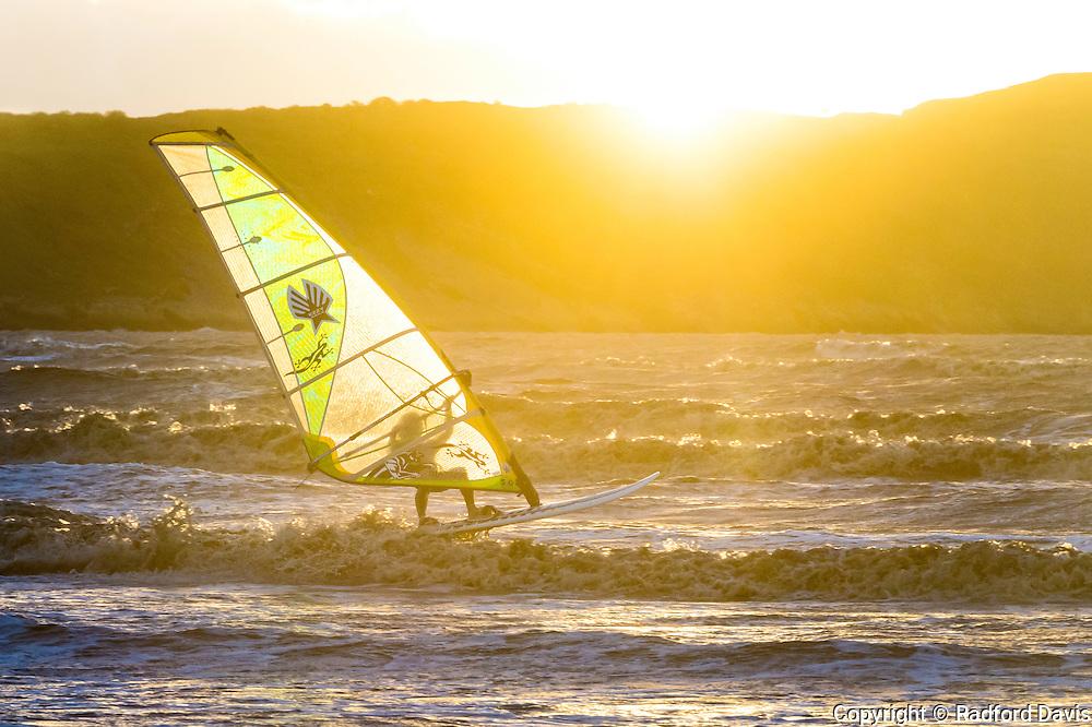 Windsurfers in Weston-super-Mare, England