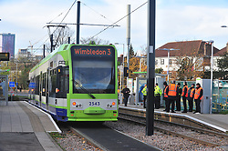 © Licensed to London News Pictures. 18/11/2016<br /> A tram running at Sandilands tram station where the line re-opened at 12.30pm for the first time since the Croydon tram crash last week. Photo credit :Grant Falvey/LNP
