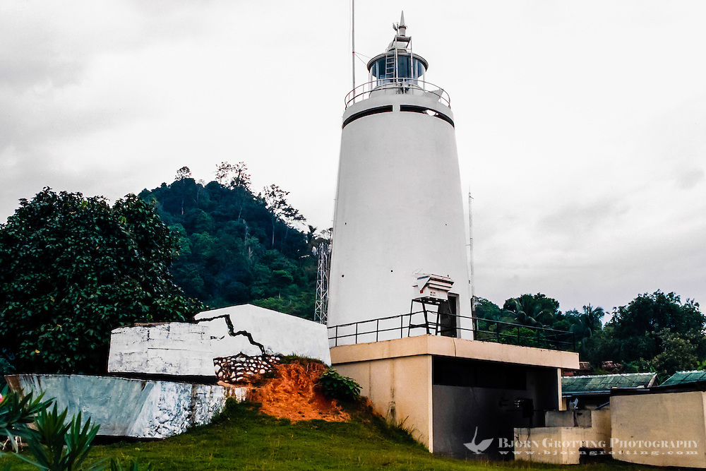 West Sumatra. South of Padang. Lighthouse marking the route to Teluk Bayur, Padang port.