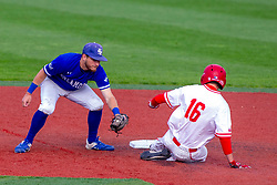 NORMAL, IL - May 01: Derek Parola slides into 2nd with the throw coming in to Jarrod Watkins during a college baseball game between the ISU Redbirds and the Indiana State Sycamores on May 01 2019 at Duffy Bass Field in Normal, IL. (Photo by Alan Look)