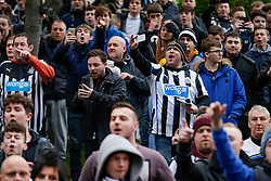 Newcastle United fans chant outside the ground as Sunderland supporters arrive - Photo mandatory by-line: Rogan Thomson/JMP - 07966 386802 - 21/12/2014 - SPORT - FOOTBALL - Newcastle upon Tyne, England - St James' Park - Newcastle United v Sunderland - Tyne-Wear derby - Barclays Premier League.