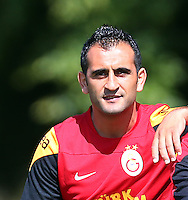 Galatasaray football team players continued to do on training in Birmingham, England on July 10, 2013.<br /> Pictured: Aurelien Bayard Chedjou Fongang (R) and Erman Kilic (L)