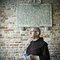 """San Francesco del Deserto, Italy 2 July 2009<br /> A franciscan monk in the monastery of San Francesco del Deserto, in the Venetian lagoon.<br /> The Venetian Lagoon is the enclosed bay of the Adriatic Sea in which the city of Venice is situated. Its name in the Venetian language, Laguna Veneta - cognate of Latin lacus, """"lake"""" - has provided the international name for an enclosed, shallow embayment of saltwater, a lagoon.<br /> PHOTO: EZEQUIEL SCAGNETTI"""