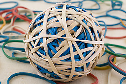 28 January 2011: Studio product shot.  Rubber bands and rubber band ball.