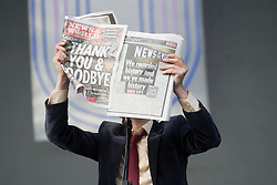 Jarvis Cocker of Pulp on the Main Stage mocks the closure of The News of the World newspaper..T in the Park on Sunday 10th July 2011. T in the Park 2011 music festival takes place from 7-10th July 2011 in Balado, Fife, Scotland..©Pic : Michael Schofield.