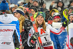 08.01.2019, Hermann Maier Weltcupstrecke, Flachau, AUT, FIS Weltcup Ski Alpin, Slalom, Damen, 2. Lauf, im Bild Katharina Liensberger (AUT, dritter Platz) // third place Katharina Liensberger of Austria reacts after her 2nd run of ladie's Slalom of FIS ski alpine world cup at the Hermann Maier Weltcupstrecke in Flachau, Austria on 2019/01/08. EXPA Pictures © 2019, PhotoCredit: EXPA/ Erich Spiess