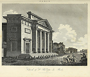 19th Century illustration of the exterior of the Church of St. Philippe du Roule,  Paris, France Copperplate engraving From the Encyclopaedia Londinensis or, Universal dictionary of arts, sciences, and literature; Volume XVIII;  Edited by Wilkes, John. Published in London in 1821