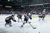 KELOWNA, BC - JANUARY 4:  Tyler Preziuso #11 of the Vancouver Giants stick checks Matthew Wedman #20 of the Kelowna Rockets as he skates with the puck at Prospera Place on January 4, 2020 in Kelowna, Canada. (Photo by Marissa Baecker/Shoot the Breeze)