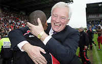 Photo: Rich Eaton.<br /> <br /> Oxford United v Leyton Orient. Coca Cola League 2. 06/05/2006.<br /> <br /> Leyton Orient chairman Barry Hearn celebrates his clubs promotion