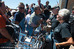 The Davidson family at the official chain cutting ceremony for the brand new Harley-Davidson Rally Point on the corner of Main Street and Harley Way during the 75th Annual Sturgis Black Hills Motorcycle Rally.  SD, USA.  July 31, 2015.  Photography ©2015 Michael Lichter.