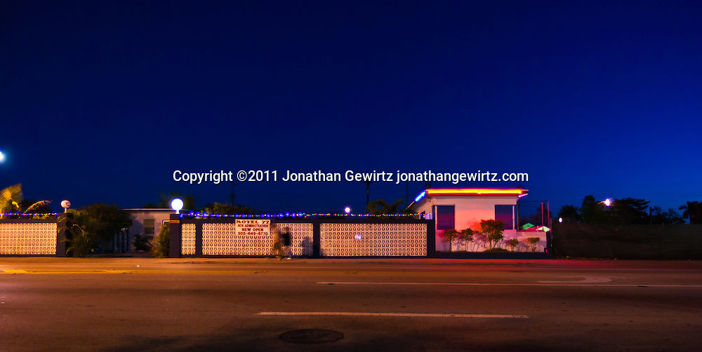 A small motel on Southwest 8th Street, Miami, Florida in the predawn hours. WATERMARKS WILL NOT APPEAR ON PRINTS OR LICENSED IMAGES.