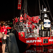 MAPFRE arrives to the start port of the Volvo Ocean Race, Alicante. MAPFRE llega al puerto de salida de la Volvo Ocean Race, Alicante.