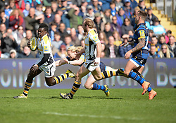 Christian Wade right wing for Wasps runs in the second try. - Mandatory by-line: Alex James/JMP - 16/04/2016 - RUGBY - Sixways Stadium - Worcester, England - Worcester Warriors v Wasps - Aviva Premiership