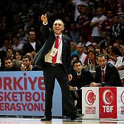 Besiktas's coach Erman Kunter during their 28. Men's Basketball Presidential Cup match Besiktas between Anadolu Efes at the Abdi ipekci Arena in Istanbul Turkey on Sunday 30 September 2012. Photo by TURKPIX