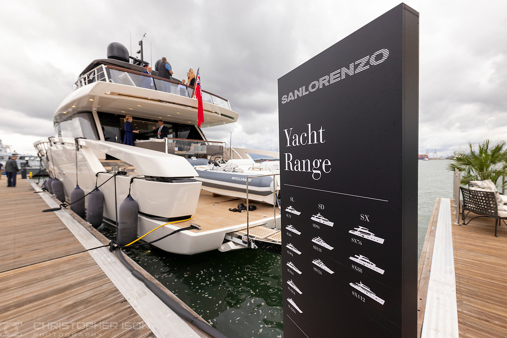 The Sanlorenzo SX88 at the Southampton International Boat Show.<br /> Shot for Ancasta International.<br /> Picture date: Friday September 10, 2021.<br /> Photograph by Christopher Ison ©<br /> 07544044177<br /> chris@christopherison.com<br /> www.christopherison.com<br /> <br /> IMPORTANT NOTE REGARDING IMAGE LICENCING FOR THIS PHOTOGRAPH: This image is supplied to the client under the terms previously agree. No sales are permitted unless expressly agreed in writing by the photographer.