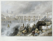 High level bridge over Tyne at Newcastle. Builder: Robert Stephenson 1803-1859. Bowstring Girder: North British Railway.  First passenger train crossed on 15 August 1849. Engraving after drawing by William Harvey (1796-1866).