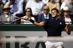 June 10, 2018 - Paris, Ile-de-France, France - Dominic Thiem of Austria hits a forehand to Rafael Nadal of Spain in the final of the men's singles at Roland Garros during the French Open on June 10, 2018 in Paris, France. (Credit Image: © Mehdi Taamallah/NurPhoto via ZUMA Press)
