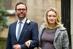 © London News Pictures. 05/03/2016. London, UK. JAMES MURDOCH and wife KATHRYN attend a ceremony to mark the wedding of Rupert Murdoch and Jerry Hall held at St Brides Church on Fleet Street,  central London on February 05, 2016. . Photo credit: Ben Cawthra /LNP