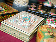 An ornamental box for sale in a handicraft store in Kashmir, India