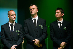 Miso Brecko, Suad Filekovic and Andraz Kirm at official presentation of Slovenian National Football team for World Cup 2010 South Africa, on May 21, 2010 in Congress Center Brdo at Kranj, Slovenia. (Photo by Vid Ponikvar / Sportida)
