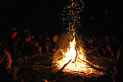 Camp fire in the food circle. European Rainbow Gathering of 2011 in Portugal