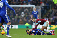 Pedro of Chelsea is tackled by Matthew Lowton of Burnley. Premier league match, Burnley v Chelsea at Turf Moor in Burnley, Lancs on Sunday 12th February 2017.<br /> pic by Chris Stading, Andrew Orchard Sports Photography.