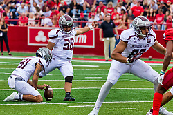NORMAL, IL - October 02: Jose Pizano attempts a field goal during a college football game between the Bears of Missouri State and the ISU (Illinois State University) Redbirds on October 02 2021 at Hancock Stadium in Normal, IL. (Photo by Alan Look)