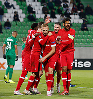 RAZGRAD, BULGARIA - OCTOBER 22: Pieter Gerkens of Antwerp celebrates after scoring his goal for 1-1 in 63rd minute with Faris Haroun and De Laet of Antwerp during the UEFA Europa League Group J stage match between PFC Ludogorets Razgrad and Royal Antwerp at Ludogorets Arena on October 22, 2020 in Razgrad, Bulgaria. (Photo by Nikola Krstic/MB Media)
