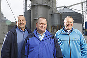SHOT 10/29/18 9:55:11 AM - Sunrise Cooperative is a leading agricultural and energy cooperative based in Fremont, Ohio with members spanning from the Ohio River to Lake Erie. Sunrise is 100-percent farmer-owned and was formed through the merger of Trupointe Cooperative and Sunrise Cooperative on September 1, 2016. Photographed at the Clyde, Ohio grain elevator was George D. Secor President / CEO and John Lowry<br /> Chairman of the Board of Directors with  CoBank RM Gary Weidenborner. (Photo by Marc Piscotty © 2018)