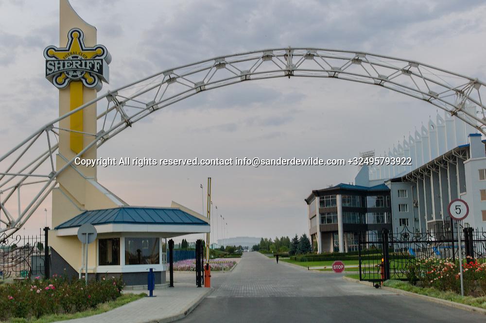 20150826 Tiraspol,  Moldova, Transnistria. The Sheriff football stadium with main entrance.