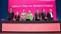 Labour Party Conference<br /> at Manchester Central, Manchester, Great Britain <br /> 24th September 2014 <br /> <br /> Red flag song and finale of the conference <br /> <br /> with Harriet Harman MP <br /> deputy Leader of the Labour Party <br /> <br /> Photograph by Elliott Franks <br /> Image licensed to Elliott Franks Photography Services