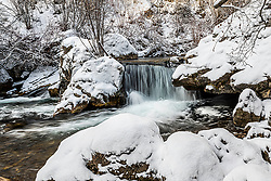 Winter stream high in the mountains of Idaho