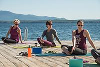 Yoga on the Pier at Lake Shore Park.  ©2018 Karen Bobotas Photographer