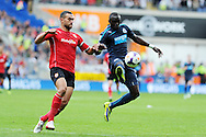 Newcastle's Papiss Cisse ® is challenged by Cardiff's Steven Caulker. Barclays Premier League match, Cardiff city v Newcastle Utd  at the Cardiff city stadium in Cardiff, South Wales on Saturday 5th Oct 2013. pic by Andrew Orchard, Andrew Orchard sports photography,