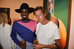 Left to right, Mason Smilie and Percy Parker at the launch of Unit London Mayfair and Ryan Hewett The Garden Preview, Hanover Square, London, England. 26 June 2018.