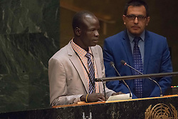 September 16, 2016 - New York, NY, United States - Yiech Pur Biel addresses the General Assembly. Three days before the opening of the United Nations high-level Summit on Addressing Large Movements of Migrants and Refugees (September 19), Actor Ben Stiller and former refugee celebrities presented a petition from the #WithRefugees campaign to the UN.  On behalf of the UN, Secretary-General Ban Ki-moon and UN High Commissioner for Refugees Filippo Grandi participated in the event. (Credit Image: © Albin Lohr-Jones/Pacific Press via ZUMA Wire)