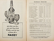 All Ireland Senior Hurling Championship Final,.Programme,.05.09.1954, 09.05.1954, 5th September 1954,.Cork 1-9, Wexford 1-6,.Minor Dublin v Tipperary, .Senior Cork v Wexford,.Croke Park,..Advertisements, Paddy Old Irish Whiskey, ..Cork Senior Team, D Creedon, Goalkeeper, Glen Rovers, Co Cork, G. O'Riordan, Right corner-back, Blackrock, Co Cork, J Lyons, Full-back, Glen Rovers, Co Cork, A. O'Shaughnessy, Left corner-back, St Finbarr's, Co Cork, M. Fouhy, Right half-back, Carrigtwohill, Co Cork, V Twomey, Centre half-back, Glen Rovers, Co Cork, D Hayes, Left half-back, Blackrock, Co Cork, G Murphy, Midfielder, Midelton, Co Cork, W. Moore, Midfielder,  Carrigtwohill, Co Cork, W G Daly, Right half-forward, Carrigtwohill, Co Cork, J Hartnett, Centre half-forward, Glen Rovers, Co Cork, C Ring, Captain, Left half-forward, Glen Rovers, Co Cork, G Clifford, Right corner-forward, Glen Rovers, Co Cork, E. Goulding, Centre forward, Glen Rovers, Co Cork, P Barry, Left corner-forward, Sarsfield, Co Cork, Substitutes, G Brohan, Blackrock, Co Cork, S O'Brien, Glen Rovers, Co Cork, D. O'Sullivan, Glen Rovers, Co Cork, M Cashman, Blackrock, Co Cork, T O'Sullivan, Buttevant, Co Cork,