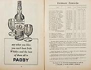 All Ireland Senior Hurling Championship Final,.Programme,.05.09.1954, 09.05.1954, 5th September 1954,.Cork 1-9, Wexford 1-6,.Minor Dublin v Tipperary, .Senior Cork v Wexford,.Croke Park,..Advertisements, Paddy Old Irish Whiskey, ..Cork Senior Team, D Creedon, Goalkeeper, Glen Rovers, Co Cork, G. O'Riordan, Right corner-back, Blackrock, Co Cork, J Lyons, Full-back, Glen Rovers, Co Cork, A. O'Shaughnessy, Left corner-back, St Finbarr's, Co Cork, M. Fouhy, Right half-back, Carrigtwohill, Co Cork, V Twomey, Centre half-back, Glen Rovers, Co Cork, D Hayes, Left half-back, Blackrock, Co Cork, G Murphy, Midfielder, Midelton, Co Cork, W. Moore, Midfielder,  Carrigtwohill, Co Cork, W G Daly, Right half-forward, Carrigtwohill, Co Cork, J Hartnett, Centre half-forward, Glen Rovers, Co Cork, C Ring, Captain, Left half-forward, Glen Rovers, Co Cork, G Clifford, Right corner-forward, Glen Rovers, Co Cork, E. Goulding, Centre forward, Glen Rovers, Co Cork, P Barry, Left corner-forward, Sarsfield, Co Cork, Substitutes, G Brohan, Blackrock, Co Cork, S O'Brien, Glen Rovers, Co Cork, D. O'Sullivan, Glen Rovers, Co Cork, M Cashman, Blackrock, Co Cork, T O'Sullivan, Buttevant, Co Cork,