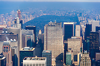 US, New York City. View from the Empire State Building observation deck. GE Building, Rockefeller Plaza with Central Park in the background.
