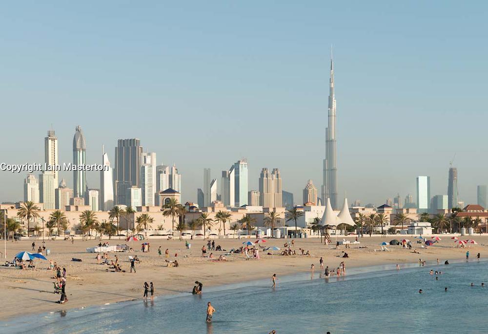View of modern skyline of Dubai from Jumeirah Open Beach in United Arab Emirates UAE