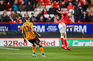 Charlton Athletic defender Adam Matthews (2) heads the ball during the EFL Sky Bet Championship match between Charlton Athletic and Hull City at The Valley, London, England on 13 December 2019.