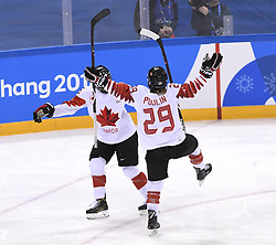 February 22, 2018 - Pyeongchang, South Korea - Canada's MARIE-PHILIP POULIN, right, celebrates with teammate MELODIE DAOUST after Poulin scored in the second period to put Canada up 2-1 in the Women's Gold Medal Ice Hockey game Thursday, February 22, 2018 at Gangneung Hockey Centre at the Pyeongchang Winter Olympic Games. Photo by Mark Reis, ZUMA Press/The Gazette (Credit Image: © Mark Reis via ZUMA Wire)