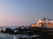 The fortified sea wall protecting the medina at Essaouira, Morocco