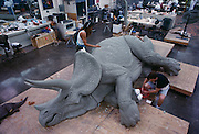 At Stan Winston Studios outside L.A. in Van Nuys, CA., the dinosaurs, like this Triceratops for Steven Spielberg's action epic, Jurassic Park were created.  Stan is one of Hollywoods most innovative character creators.