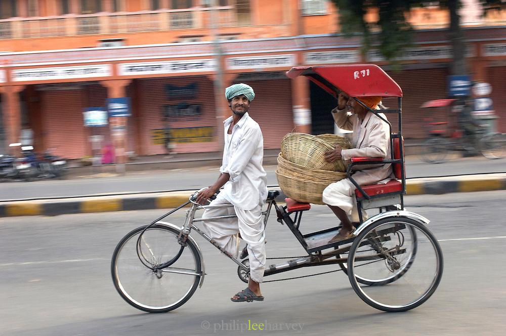 Rickshaw carrying passenger, Jaipur, Rajasthan, India
