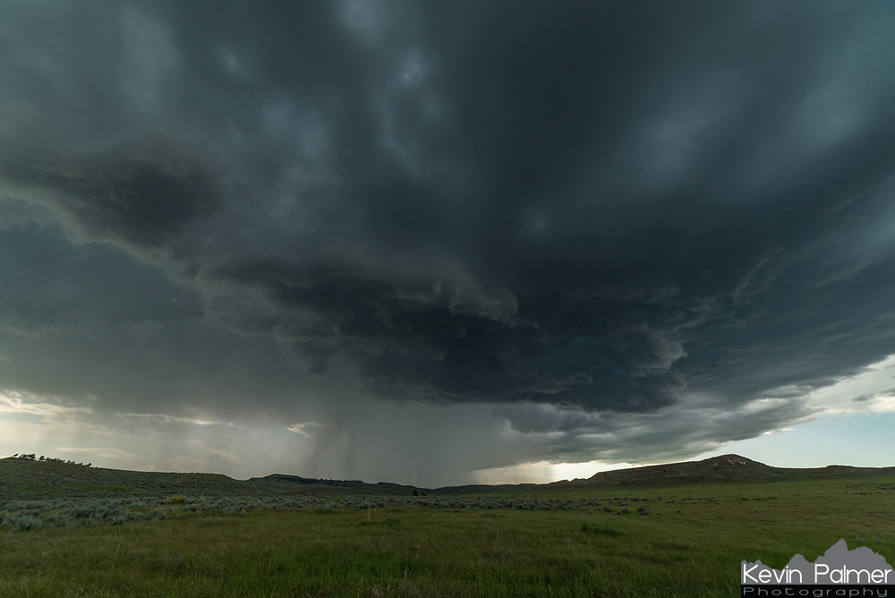 This supercell rolled out of the Bighorn Mountains during the evening. I drove 20 minutes away to watch it rumble across the Montana grassland.